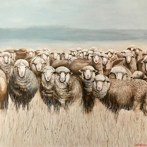 (CreativeWork) SHEEP IN WINTER PASTURE by LOUISE GROVE WIECHERS. #<Filter:0x00007f7ba07c9098>. Shop online at Bluethumb.