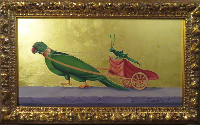 (CreativeWork) The Parrot and Grasshopper by Rob Davis. Oil Paint. Shop online at Bluethumb.