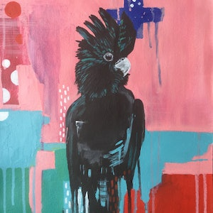 (CreativeWork) Black Cockatoo Abstracted - unframed canvas. by Emma Wreyford. acrylic-painting. Shop online at Bluethumb.