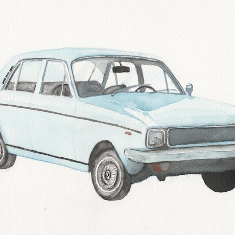 (CreativeWork) Watercolour painting of classic car (Hillman Hunter) by Max Sabet. Watercolour Paint. Shop online at Bluethumb.