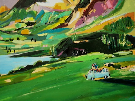 (CreativeWork) Spring Getaway by Tulika Das. Acrylic Paint. Shop online at Bluethumb.