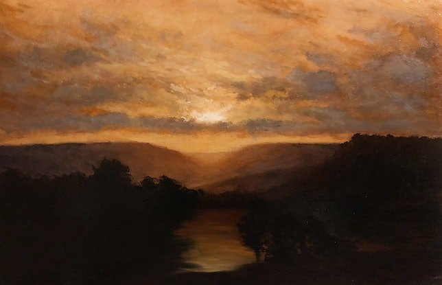 (CreativeWork) Innes Sunset  by Zac Moynihan. Oil Paint. Shop online at Bluethumb.