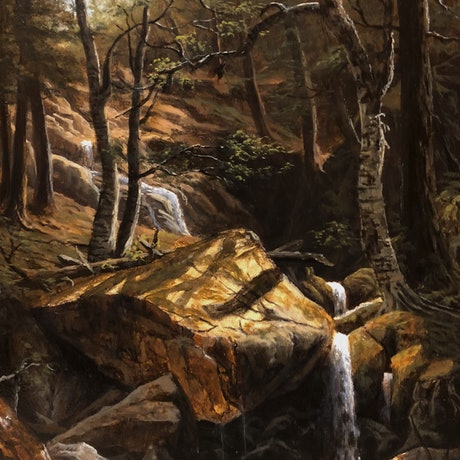(CreativeWork) Bierstadt's Pool by Zac Moynihan. Oil Paint. Shop online at Bluethumb.
