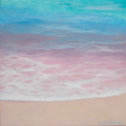 (CreativeWork) Rainbow foam by Michelle Angelique. Acrylic Paint. Shop online at Bluethumb.