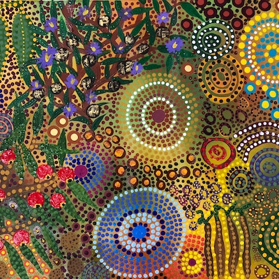 (CreativeWork) Looking for bush tucker by Renee Clifton. acrylic-painting. Shop online at Bluethumb.