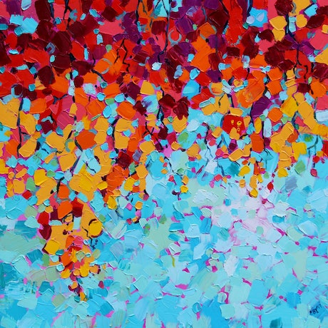(CreativeWork) Colours of Autumn by Eve Izzett. Oil Paint. Shop online at Bluethumb.