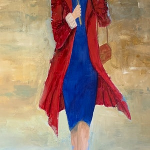 (CreativeWork) Lady with umbrella 2 by Tom Roso. oil-painting. Shop online at Bluethumb.