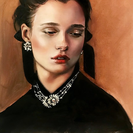 (CreativeWork) Girl with a jewelled necklace by Darlene Lavett. Oil Paint. Shop online at Bluethumb.