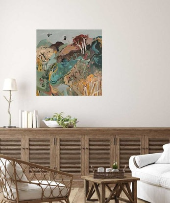 (CreativeWork) Abstract Landscape - Red Trees (Sale Price) by Susan Trudinger. Acrylic Paint. Shop online at Bluethumb.