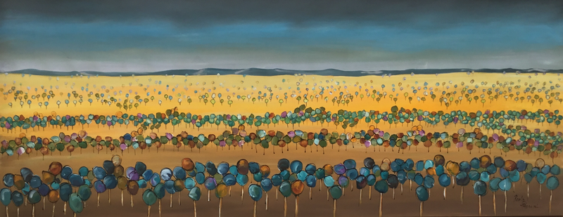 (CreativeWork) Flat plain trees by Ron Brown. Acrylic Paint. Shop online at Bluethumb.