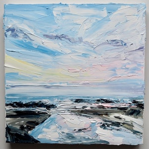 (CreativeWork) 'The Perfect Ending' - Iluka NSW Seascape   by Michelle Keighley. oil-painting. Shop online at Bluethumb.