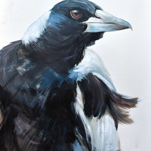 (CreativeWork) Magzy - Magpie study 1 by Rebecca Hill. acrylic-painting. Shop online at Bluethumb.