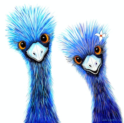 (CreativeWork) Quirky Emus by Linda Callaghan. Acrylic Paint. Shop online at Bluethumb.