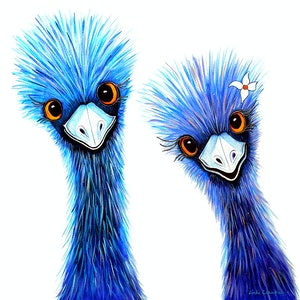 (CreativeWork) Quirky Emus by Linda Callaghan. acrylic-painting. Shop online at Bluethumb.