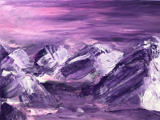 (CreativeWork) Snowy Sunset by Emari 🏔. Acrylic Paint. Shop online at Bluethumb.
