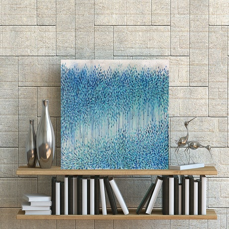 (CreativeWork) Immersion in Blue (50x50cm) by Leni Kae. Acrylic Paint. Shop online at Bluethumb.