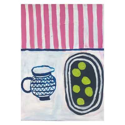 (CreativeWork) Limes and Jug by Laura Thomas. #<Filter:0x00007f02b03eb908>. Shop online at Bluethumb.