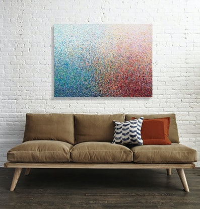 (CreativeWork) POLLEN HARVEST acrylic painting on canvas 122 x 91 cm   by George Hall. Acrylic Paint. Shop online at Bluethumb.