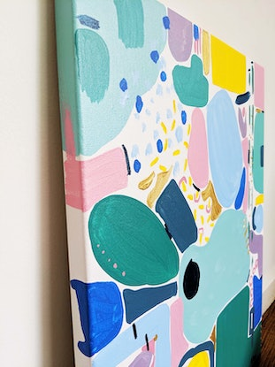 (CreativeWork) Feeling Blue and Pink by Ellen McKenna. Acrylic Paint. Shop online at Bluethumb.