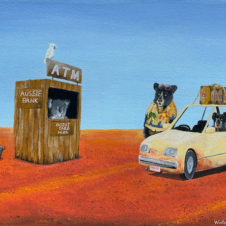 (CreativeWork) The Outback ATM by Winton Bochanowicz. Acrylic Paint. Shop online at Bluethumb.