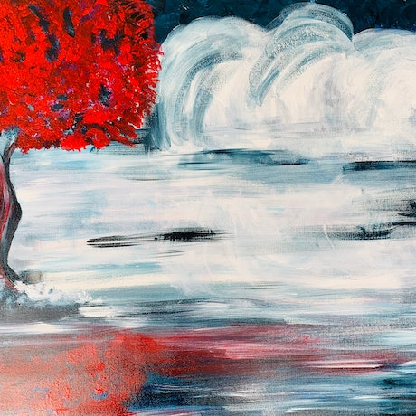 (CreativeWork) The Red  by Dr Ria Rushin Joseph. Acrylic Paint. Shop online at Bluethumb.