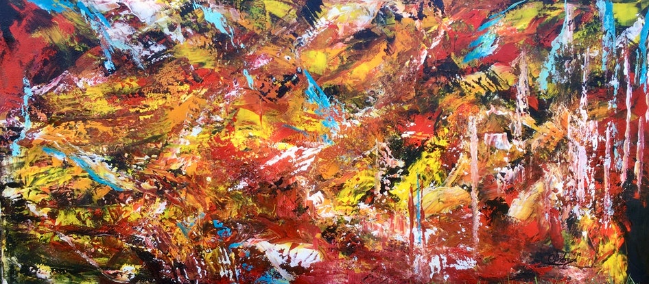 (CreativeWork) Flame Within  by Carol Lindsay. Mixed Media. Shop online at Bluethumb.