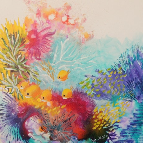 (CreativeWork) Swimmingly Happy by Lyn Olsen. Mixed Media. Shop online at Bluethumb.