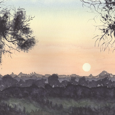 (CreativeWork) Sunset View by Debbie Brophy. watercolour. Shop online at Bluethumb.