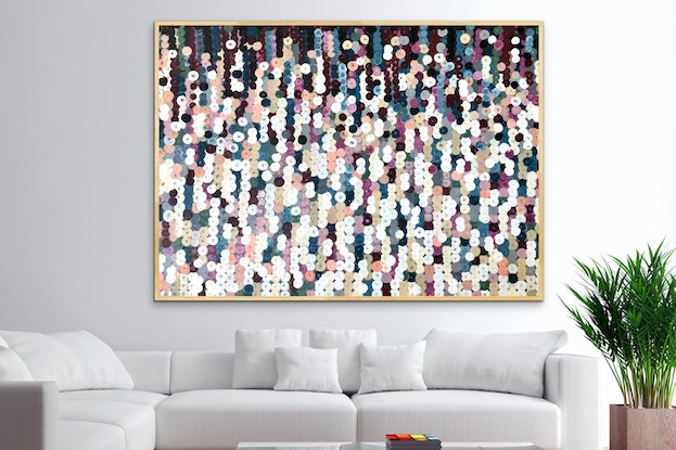 (CreativeWork) Flat white 152x102 framed large abstract  by Sophie Lawrence. Acrylic Paint. Shop online at Bluethumb.