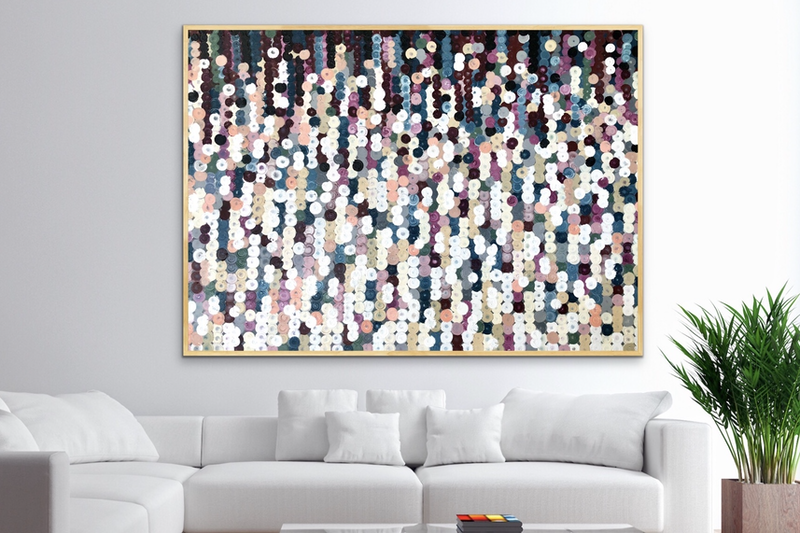 (CreativeWork) Flat white 152x102 framed large abstract  by Sophie Lawrence. acrylic-painting. Shop online at Bluethumb.