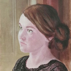 (CreativeWork) Portrait of a young women by Adela Vojnovic. oil-painting. Shop online at Bluethumb.