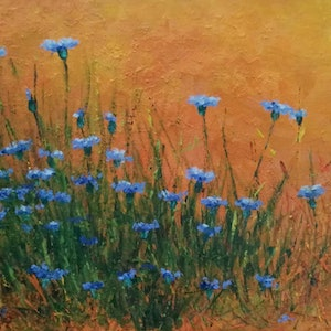 (CreativeWork) Cornflower  meadow  by Adela Vojnovic. oil-painting. Shop online at Bluethumb.