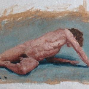 (CreativeWork) Male nude by Adela Vojnovic. oil-painting. Shop online at Bluethumb.