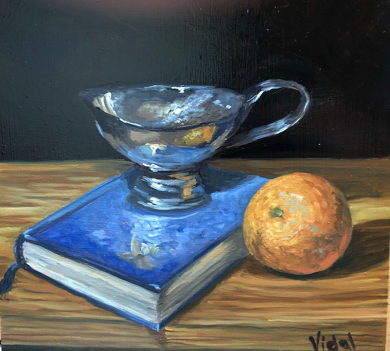 (CreativeWork) Orange and Blue book reflections - still life by Christopher Vidal. oil-painting. Shop online at Bluethumb.