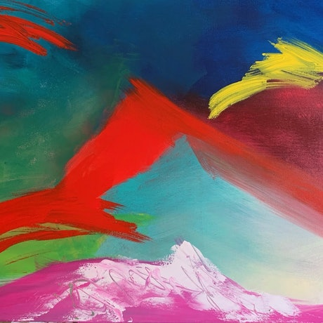 (CreativeWork) Where the Air Thins by Lorraine Smart. Acrylic Paint. Shop online at Bluethumb.