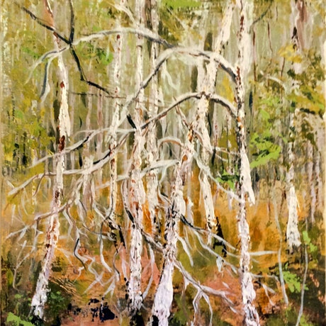 (CreativeWork) Paperbark grove III by Abramo Papp. Acrylic Paint. Shop online at Bluethumb.