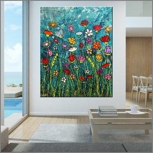 (CreativeWork) Loaded Bunch 120cm x 150cm Huge Flower Garden Textured Ink Abstract Gloss Finish FRANKO by _Franko _. acrylic-painting. Shop online at Bluethumb.
