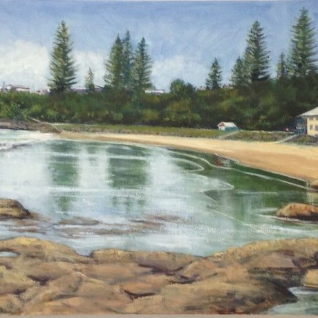 (CreativeWork) Main Beach Yamba - Seascape by Anne Strambi. Oil Paint. Shop online at Bluethumb.