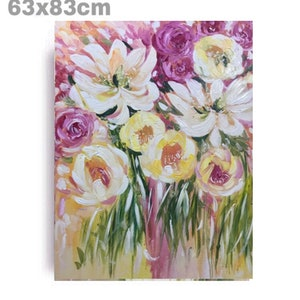 (CreativeWork) Magnolia and roses by Rain wu. acrylic-painting. Shop online at Bluethumb.