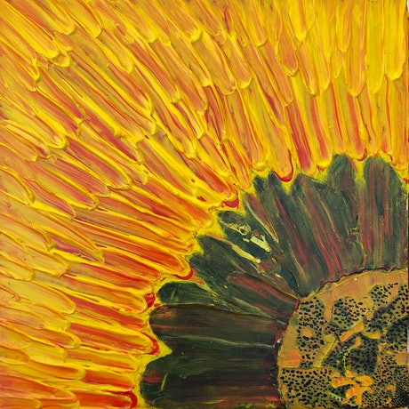 (CreativeWork) Sunshower Sunflower by Emari 🏔. Acrylic Paint. Shop online at Bluethumb.
