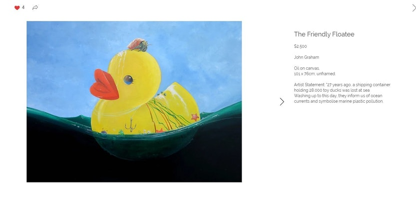 (CreativeWork) The Friendly Floatee - Finalist - Mission To Seafarers Maritime Art Prize 2019 - On hold   by John Graham. Oil Paint. Shop online at Bluethumb.