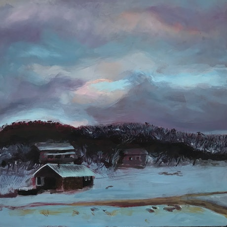 (CreativeWork) Rock Creek Hut, Perisher by fiona smith. Oil Paint. Shop online at Bluethumb.