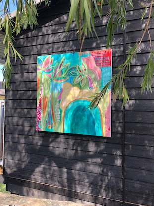(CreativeWork) Shelly Beach Palms by Bec Schopen. Acrylic Paint. Shop online at Bluethumb.