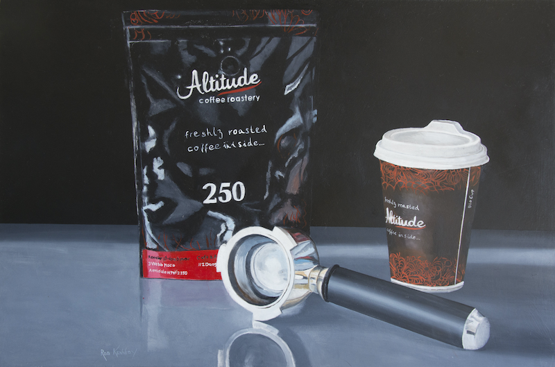 (CreativeWork) Coffee, Group and Cup by Rob Kennedy. Oil Paint. Shop online at Bluethumb.