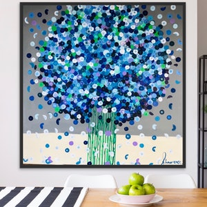 (CreativeWork) Bluebells 102x102 framed abstract by Sophie Lawrence. acrylic-painting. Shop online at Bluethumb.
