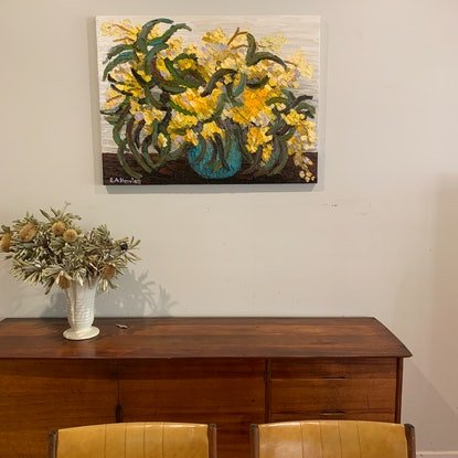 (CreativeWork) Winter's Gold  by Elisabeth Howlett. Oil Paint. Shop online at Bluethumb.