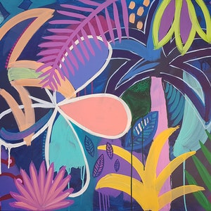 (CreativeWork) Jungle by Night  by Claire Cooper. arcylic-painting. Shop online at Bluethumb.
