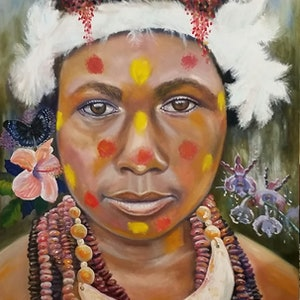 (CreativeWork) 'Papua New Guinea girl'  - tribal. by Susan Capan. oil-painting. Shop online at Bluethumb.
