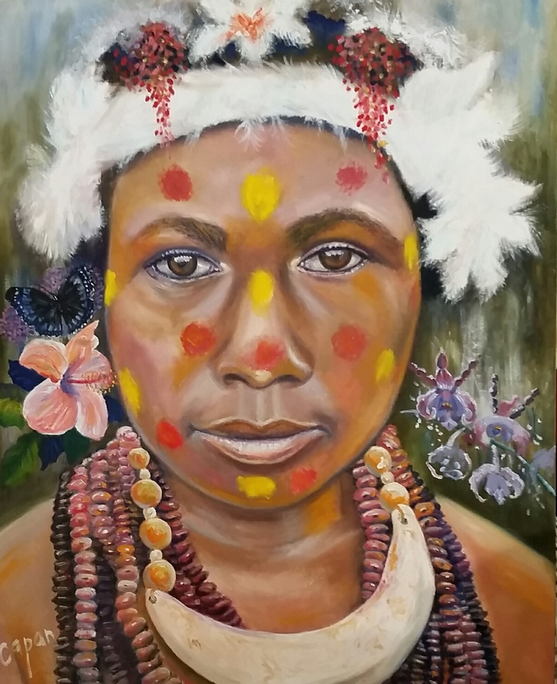 (CreativeWork) 'Papua New Guinea girl'  - tribal. by Susan Capan. Oil Paint. Shop online at Bluethumb.