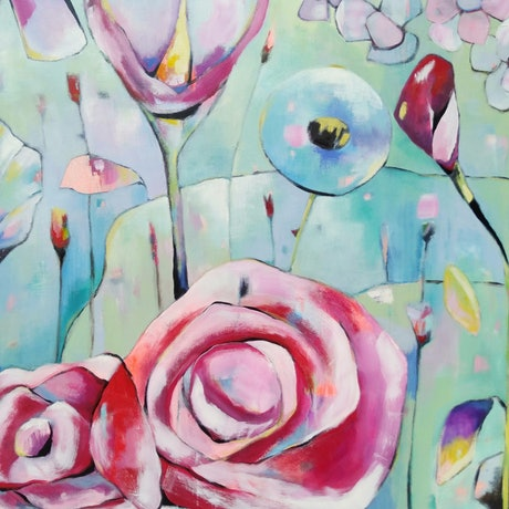 (CreativeWork) I Promised You A Rose Garden by Debra Sutton. Acrylic Paint. Shop online at Bluethumb.
